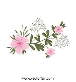 beautiful flower with leafs isolated icon