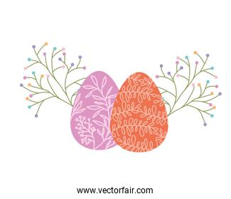 easter eggs with flowers and leafs isolated icon