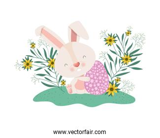easter bunny with flowers and easter eggs icon