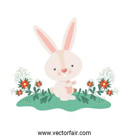 easter bunny with flowers isolated icon