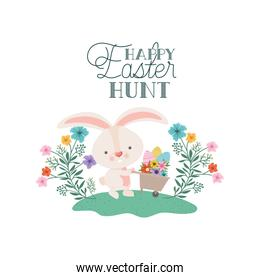 happy easter hunt label with rabbit icon