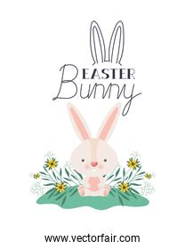 easter bunny label isolated icon