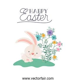happy easter label with rabbit isolated icon