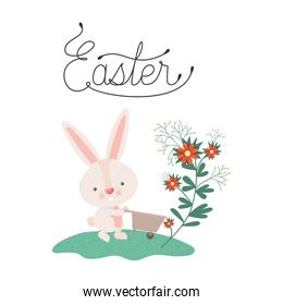 easter label with bunny isolated icon