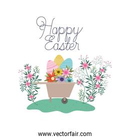 happy easter label with wheelbarrow isolated icon