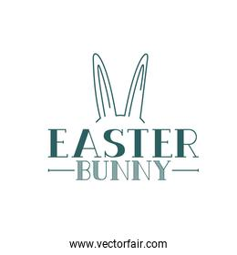 easter bunny label with rabbit ears icon
