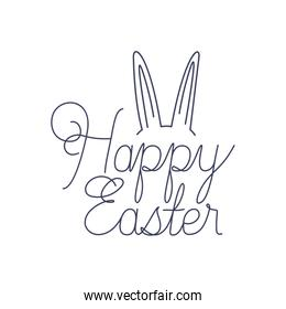 happy easter label with with rabbit ears icon