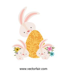 easter rabbits with egg isolated icon