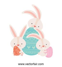 easter rabbits with eggs isolated icon