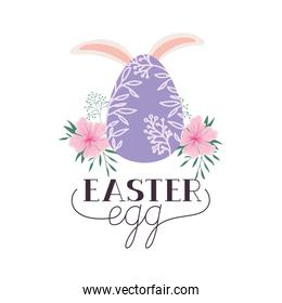 easter egg label with rabbit ears icon