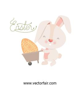easter label with rabbit isolated icon
