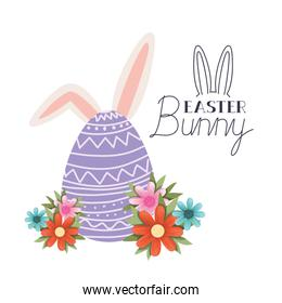 easter bunny label with egg and rabbit ears icon
