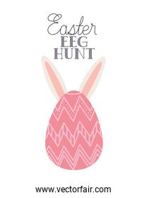 easter egg hunt label with rabbit ears icon