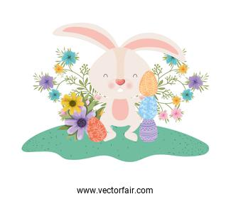 easter rabbit with eggs and flowers icon