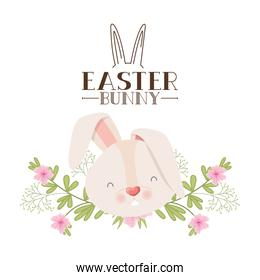easter bunny label with flowers isolated icon