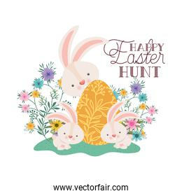 happy easter hunt label with egg and flowers icon