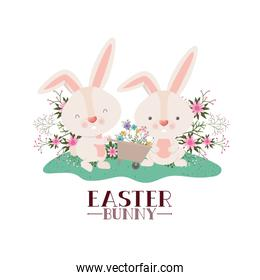 easter bunny label with egg and flowers icon