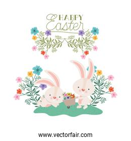 happy easter label with egg and flowers icon