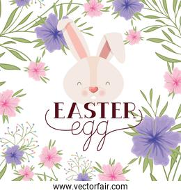 easter egg label with rabbit head isolated icon