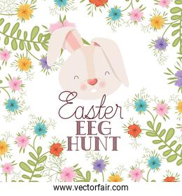 easter egg hunt label with rabbit head isolated icon