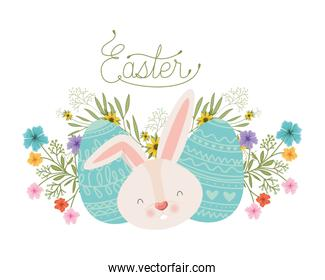 easter label with eggs and flowers icon