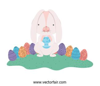 easter rabbit with egg isolated icon