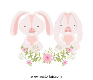 easter bunnies with flowers isolated icon