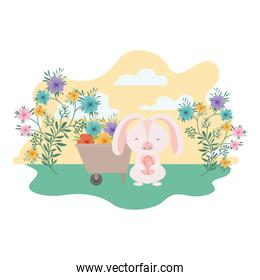 easter bunny with landscape isolated icon
