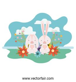 easter bunnies with landscape isolated icon