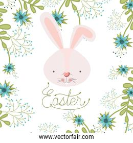 easter label with rabbit head isolated icon