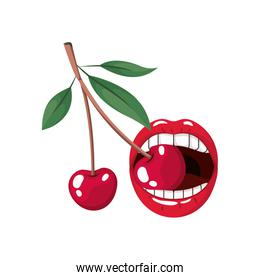 female mouth with cherry isolated icon
