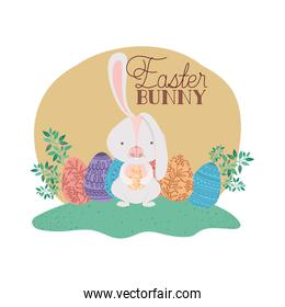 easter bunny label with egg isolated icon