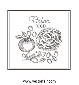 delicious italian food in drawing