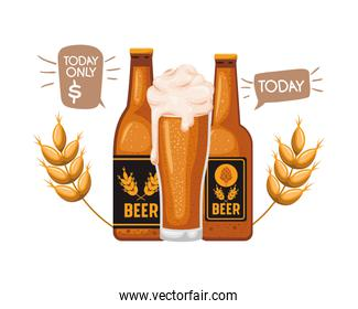 bottle of beer and glass isolated icon