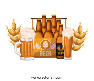 box with beer bottles and glass isolated icon