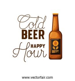 cold beer happy hour label with bottle icon