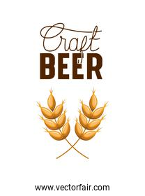 craft beer label with wheat leaves icon
