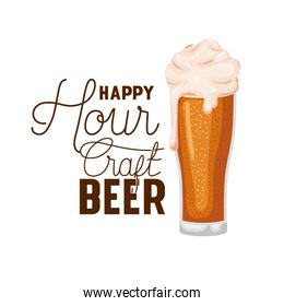 happy hour craft beer label glass
