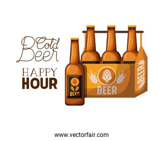 cold beer happy hour label with box