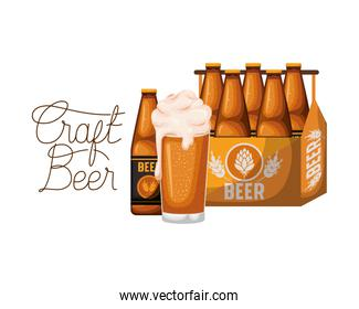craft beer label with box and beer bottles