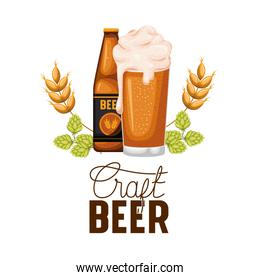 craft beer label with bottle and glass