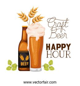 craft beer happy hour label with bottle and glass
