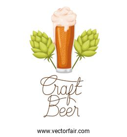 craft beer label with glass and pinecone