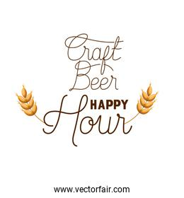 craft beer happy hour label with wheat