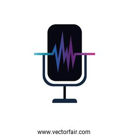 microphone with sound wave isolated icon