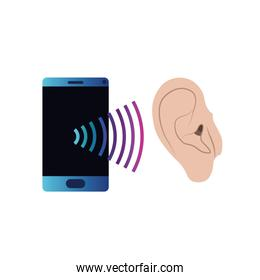 ear with sound wave and smartphone