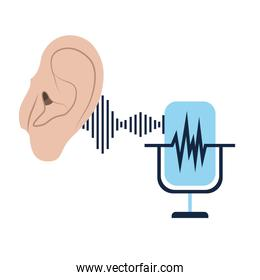 ear with sound wave and microphone