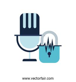 security padlock and microphone isolated icon