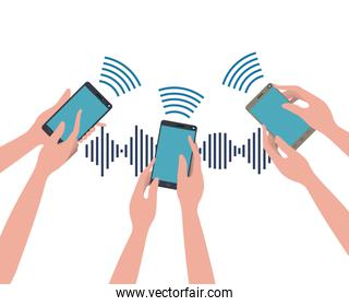 hands with smartphone and sound wave
