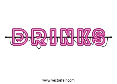 drinks label in neon light isolated icon